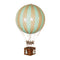 Large mint hot air balloon which comes complete with a rattan basket hanging from hand-knotted netting.