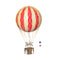 Large red hot air balloon which comes complete with a rattan basket hanging from hand-knotted netting.