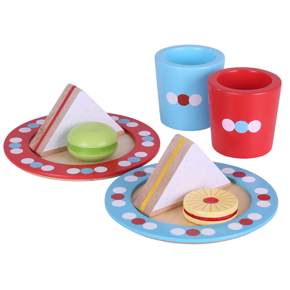 Have a savoury snack, a sweet treat and a cup of your favourite drink with the Bigjigs Toys wooden Tea Time playset.