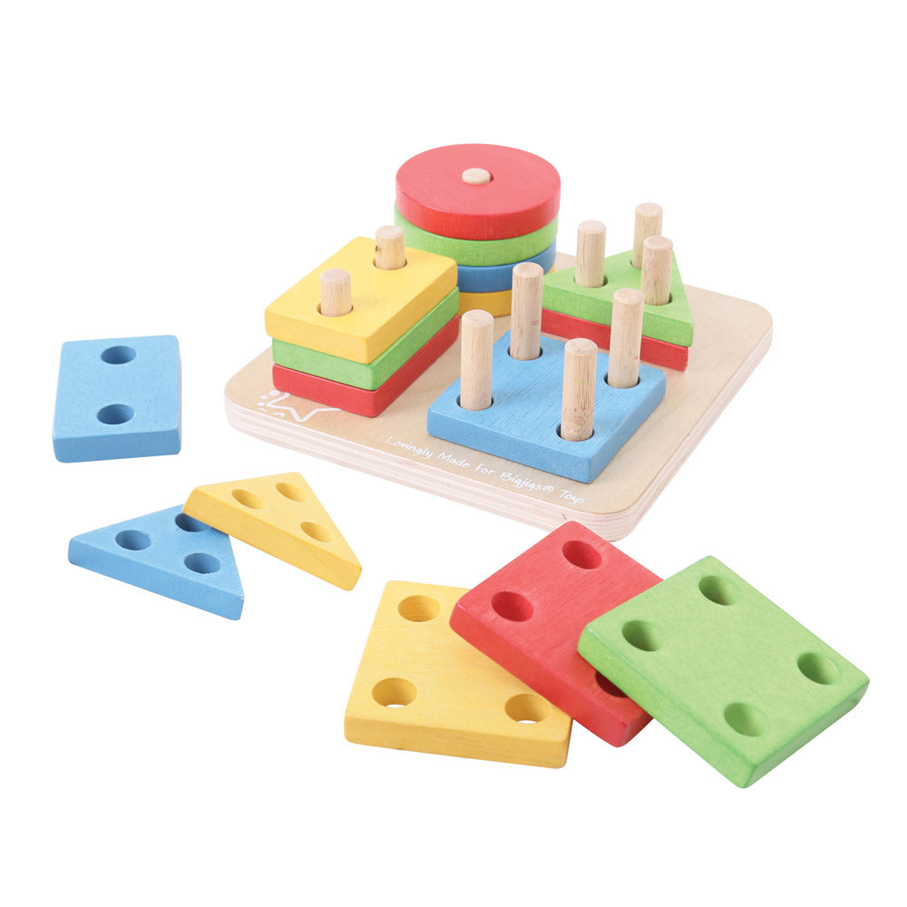 Sort and match the brightly coloured wooden. Four shape sorter from Bigjigs. A great way for your little ones to learn about numbers and encourage shape recognition while slotting each wooden shape onto the board.