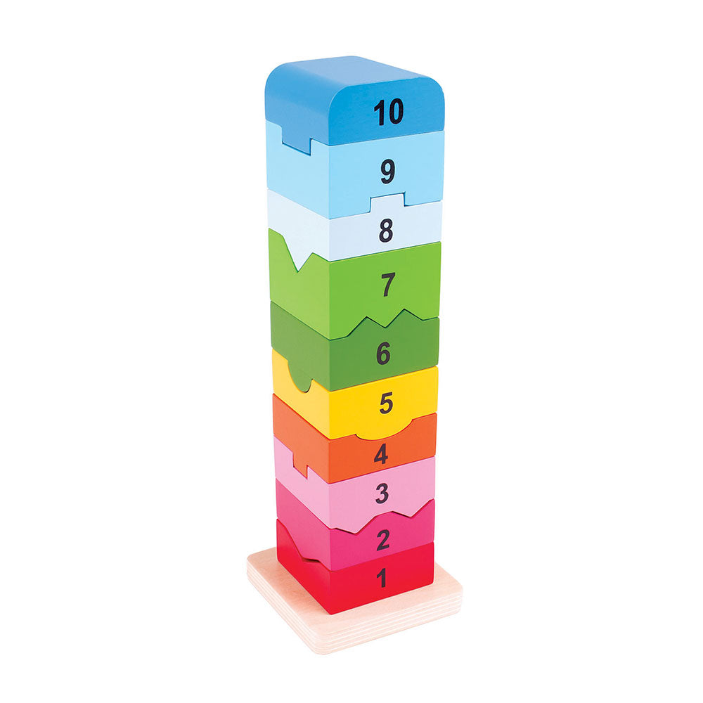This toy provides a thrilling way to learn about numbers whilst building a brightly coloured wooden tower. Children can practise both number recognition and counting as they fit each wooden piece next to its individually-shaped numerical neighbour. Made from high quality, responsibly sourced materials. Conforms to current European safety standards. Consists of 11 play pieces.