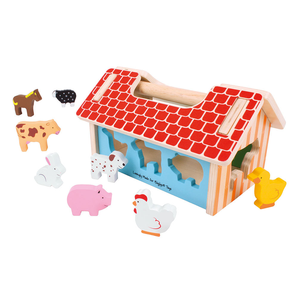 Have fun on the farm with this colorful wooden Farm House Sorter from Bigjigs. Little ones will enjoy matching each animal to its uniquely shaped slot on the wall of the farm house.