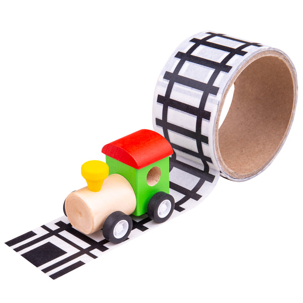 Create your very own unique track layout with every play session with this tactile and durable Railway Tape from Bigjigs! Easy to use, just simply peel off and stick to a surface. Suitable for floors, walls and furniture. Easy to tear off, the tape will not leave track or residue, and won't damage the surface. A great way to encourage imaginative role play. Supplied with a wooden train.