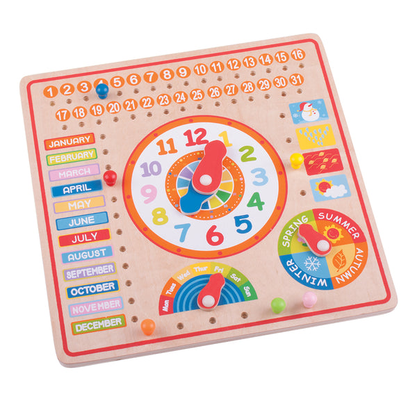 This bright and vibrant activity board from Bigjigs is great fun and highly educational. It includes a large clock for learning to tell the time and day, month and season peg boards, plus dials for days of the week and seasons!