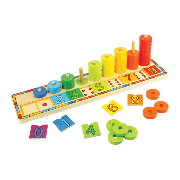 This award-winning educational wooden puzzle from Bigjigs helps kids to improve their counting and mathematical skills. Match the numbered squares to the dots on the base of the puzzle and then count the brightly coloured discs as they are placed onto their individual pegs.