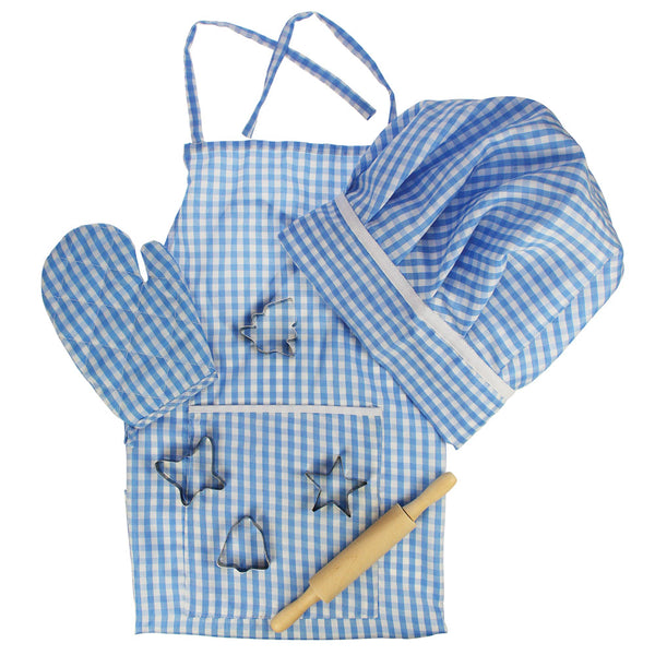 Help your little chefs look the part in this bright blue gingham chef set from Bigjigs. This gingham apron with matching hat and oven glove will encourage your youngster to get creative in the kitchen and food preparation.