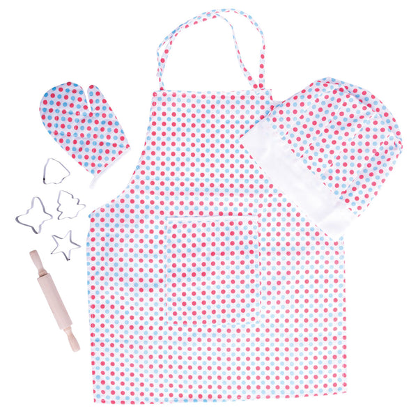 Help your little chefs look the part in this bright Sotty chef set from Bigjigs. This spotty apron with matching hat and oven glove will encourage your youngster to get creative in the kitchen and food preparation.