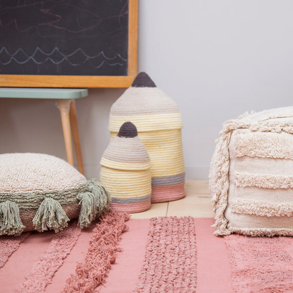 A quirky pencil-shaped storage basket by Lorena Canals for your kid's room. Complete with a lid to hide everything away neatly. Perfect for storing toys, pencils and school supplies. 100% natural cotton basket woven by hand.