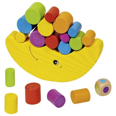 The wooden moon is a half-moon curve with the face creating ridges in the moon to fit in the cylinders. A variety of different sized and coloured rounded wooden cylinders are provided as the puzzle pieces to stack and balance. Includes -20 pieces.