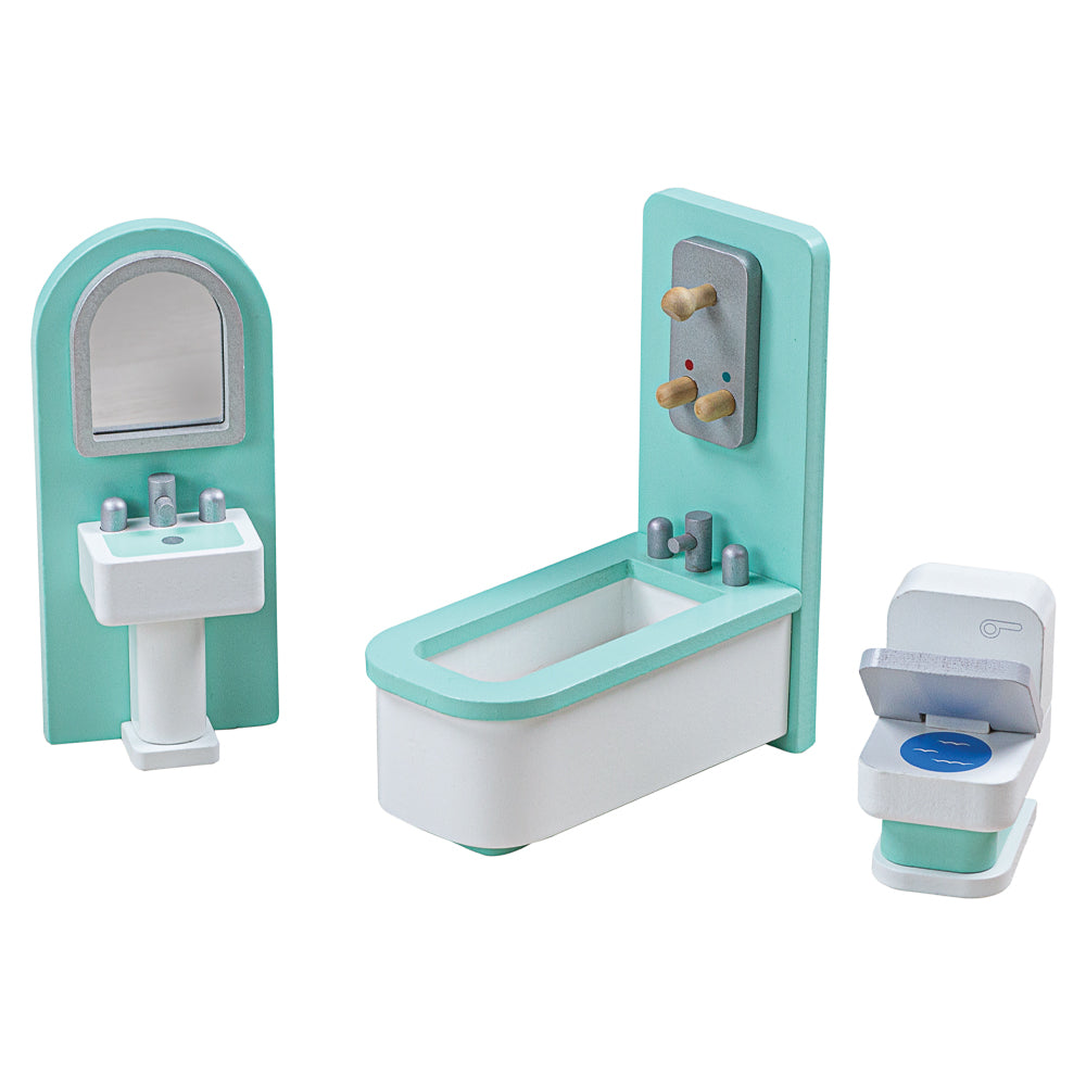 Create the perfect place for your dolls to clean up after a long day with this doll's house Bathroom furniture set from Bigjigs! Wonderfully detailed and made from Beechwood, this set fits perfectly into most standard sized dolls houses. Little ones will love providing a life-like bathroom for their doll family. A great way to encourage creative and imaginative play sessions. Made from high quality, responsibly sourced materials.