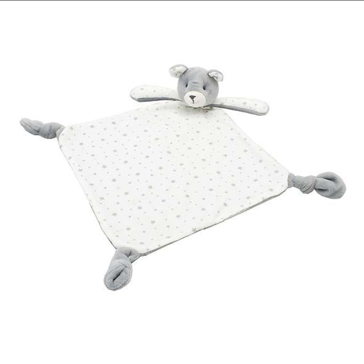 Bertie bear comforter with soft printed stars with knotted corners for babies to grip and contrasting fabrics for curious fingers. A lovely gift for a newborn.