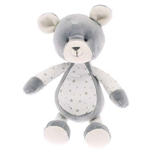 Bertie bear toy in soft grey with silver stars on his tummy. He has arms and legs designed for small hands to grab. A lovely gift for a newborn or child.