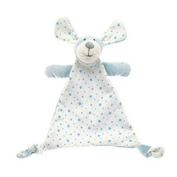 Paddy puppy double-sided comforter in a pale blue soft plush and jersey printed with stars finished with knotted corners for little fingers to grab. A lovely gift for a newborn.