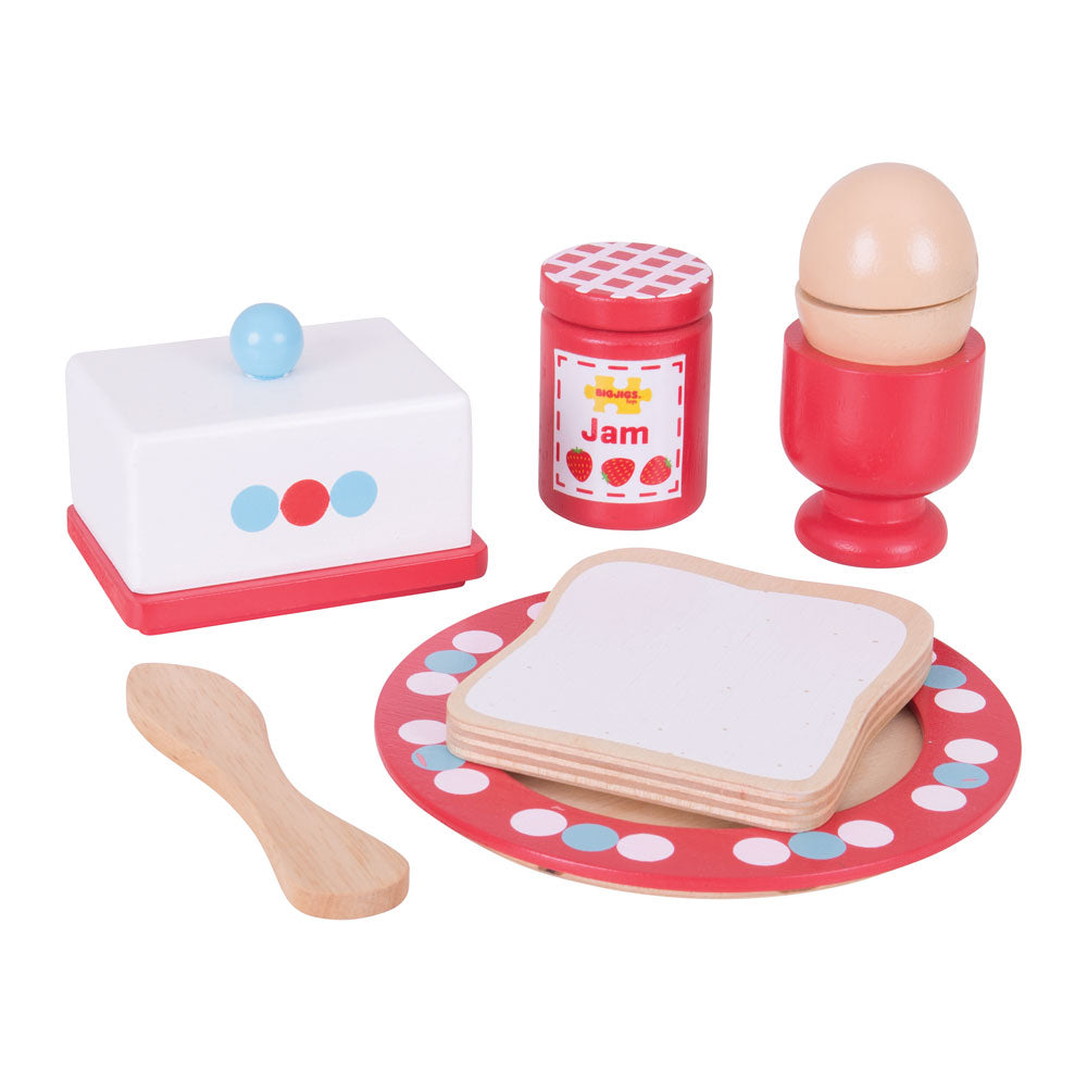 Your little ones can serve up a balanced breakfast with this colourful wooden breakfast set from Bigjigs. It includes an egg, bread, butter and jam! Supplied with a wooden knife to butter the bread and spread the jam, and even crack the egg.