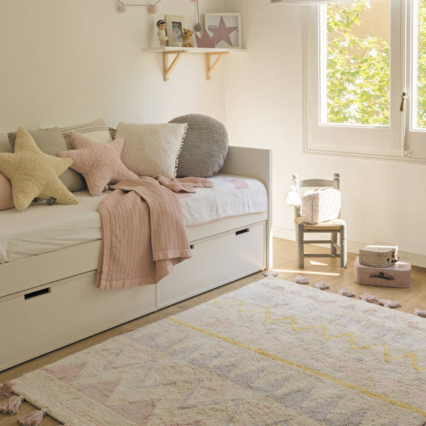 Azteca Washable Rug - Natural Pink - Rooms for Rascals, a Leafy Lanes Retailers Ltd business
