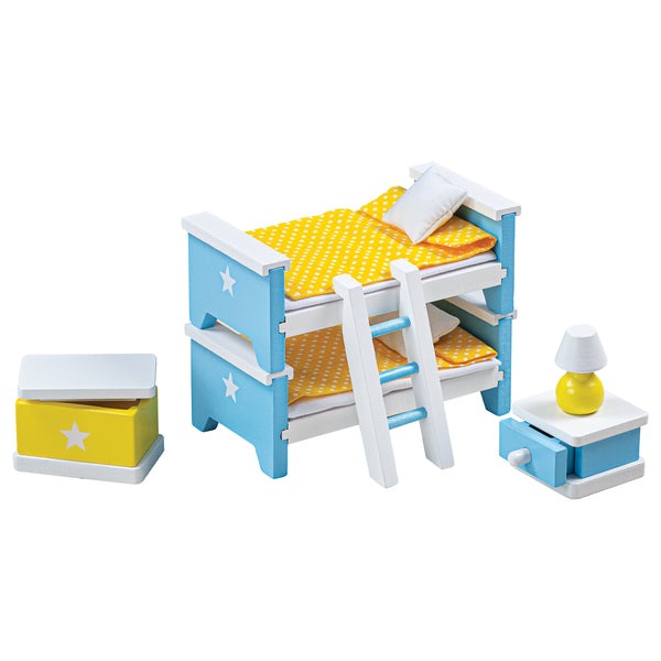 Create the perfect place for your dolls to sleep with this doll's house children's bedroom furniture set from Bigjigs! Wonderfully detailed and made from Beechwood, this set fits perfectly into most standard sized dolls houses. Includes two single beds which can be made into a bunk bed, a ladder, bedside table and bedside lamp and a toy box. The beds even come with coordinating bedding to keep dolls warm and cosy whilst they sleep!