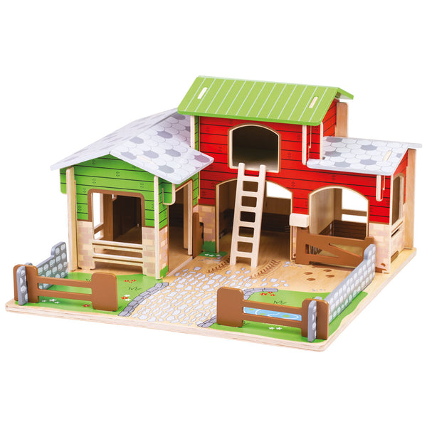 Get Busy on this colourful Cobblestone Farm from Bigjigs! This Farm Play Set comes complete with a wooden baseboard, working gates, a stable, hayloft, a duck pond and space to park a tractor.