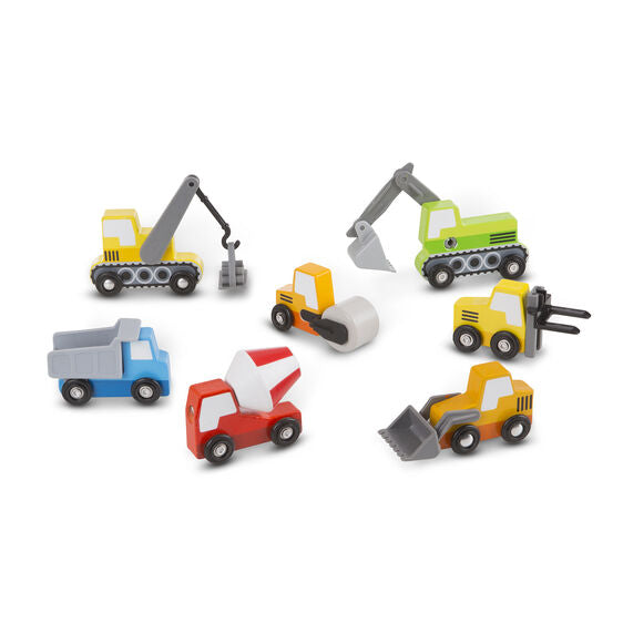 It's time to get constructive fun rolling with these colorful wooden vehicles! The eight-piece set includes a steam roller, cement mixer, forklift, dump truck, front loader, crane, and backhoe.