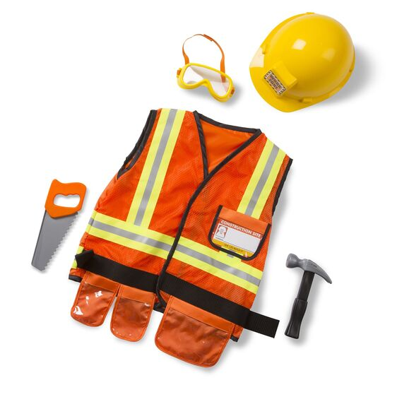 "Your little construction worker will be ready for the job with this Construction worker set from Melissa and Doug! They will look the part in their bright orange, machine-washable, vest high-lighted with reflective material and a tool belt and a yellow hard hat. This set also includes ""safety"" goggles, a hammer, a saw, and a name tag for personalizing."