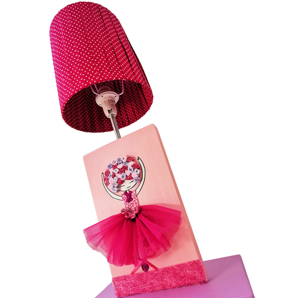 Ballerina Side Lamp with Wooden Base - Rooms for Rascals, a Leafy Lanes Retailers Ltd business