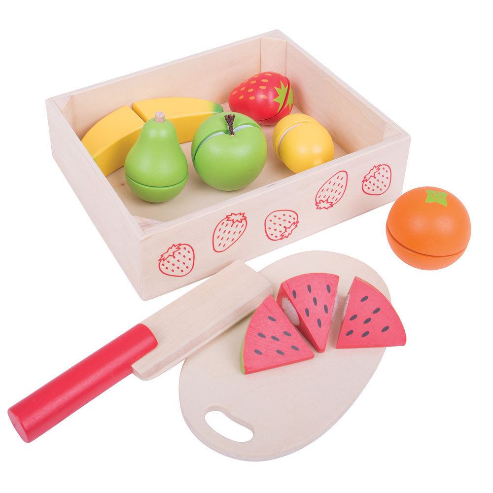 Little ones can safely chop up a variety of different fruits with this brightly coloured crate of wooden play food from Bigjigs.