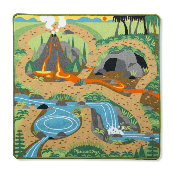 Your little ones will go back in time to visit the prehistoric giants on this colourful dinosaur play rug from Melissa and Doug! Provides endless hours of fun with four flocked dinosaur figures (T-Rex, Triceratops, Stegosaurus, Apatosaurus) and features details like a bubbling volcano, waterfall, river, a cool cave, jungle, and grassland to give many options for creative play.