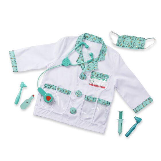 Your aspiring little Doctor will look the part in this Doctor Costume Set from Melissa and Doug! They will be fully equipped with a jacket, mask, stethoscope, reflex hammer, ear scope, syringe, and reusable name tag.