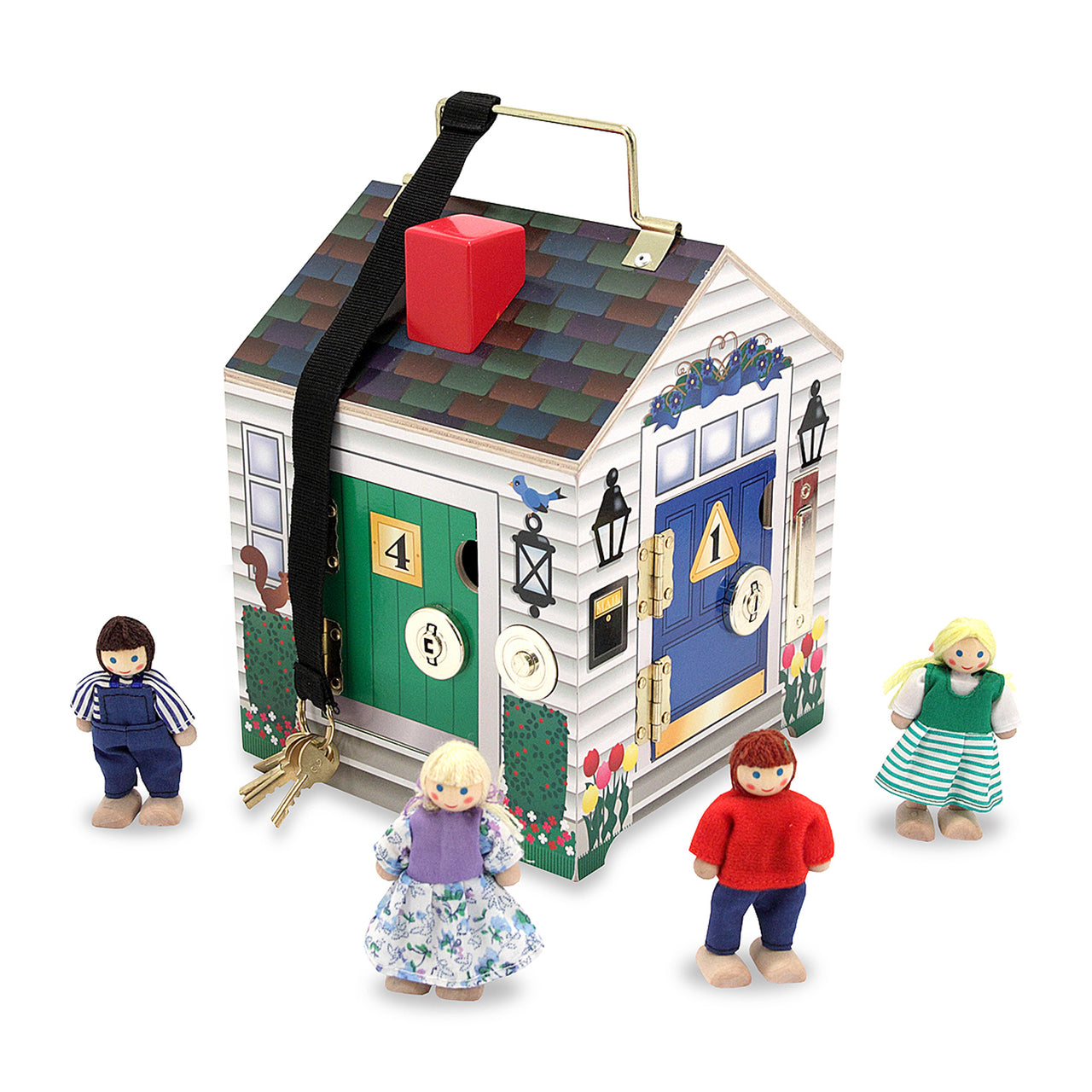 Ding Dong! Fun is waiting for your little ones at the door of this vibrant wooden doorbell house from Melissa and Doug! Includes four electronic doorbell sounds, four unique locks with matching keys, and four play people. The keys will never be lost as they are attached to the house and the handle makes it all set to go on the move!