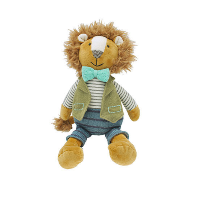 Meet Bob, the cutest dressed Lion you will ever see. Bob is very handsome in his stripey jumper and trousers with a waistcoat and bow.  A collectible soft toy if there ever was one!