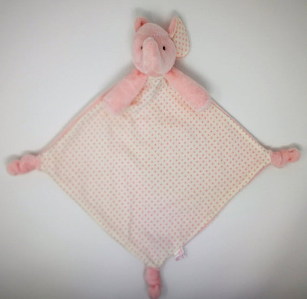 Pink soft fur elephant on a double-sided comforter with cotton spot print on its tummy.  Knotted corners for babies to grip and contrasting fabrics for curious fingers.