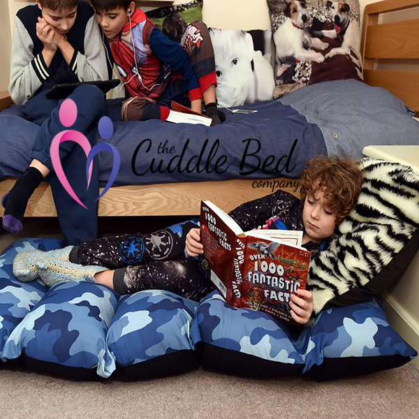 Child and Teen sized Cuddle Beds are perfect for kids' sleepovers, lying on the floor, gaming and general chilling. Rooms for Rascals stock each size in two fantastic designs which have removable washable covers.