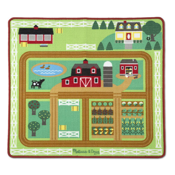Kids will be kept busy at work on this colourful farm-themed play rug from Melissa and Doug! Provides endless hours of fun with three flocked farm animal play figures (cow, pig, horse) and a wooden farm tractor and trailer, and features details like a barn, stables, farmhouse, chicken coop, pond, crops, garden, pasture, orchard, riding arena, trails, and more to give many options for creative play.
