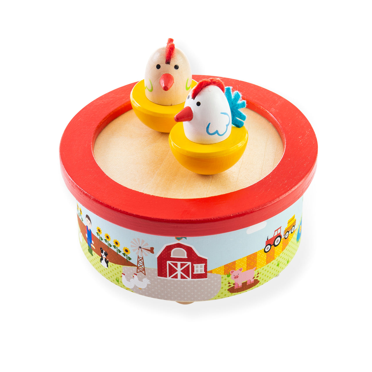 Wind them up and watch them dance with this fun wooden musical dancing toy from Bigjigs! This music box features two chickens who dance and spin on a mirrored base, providing hours of entertainment.