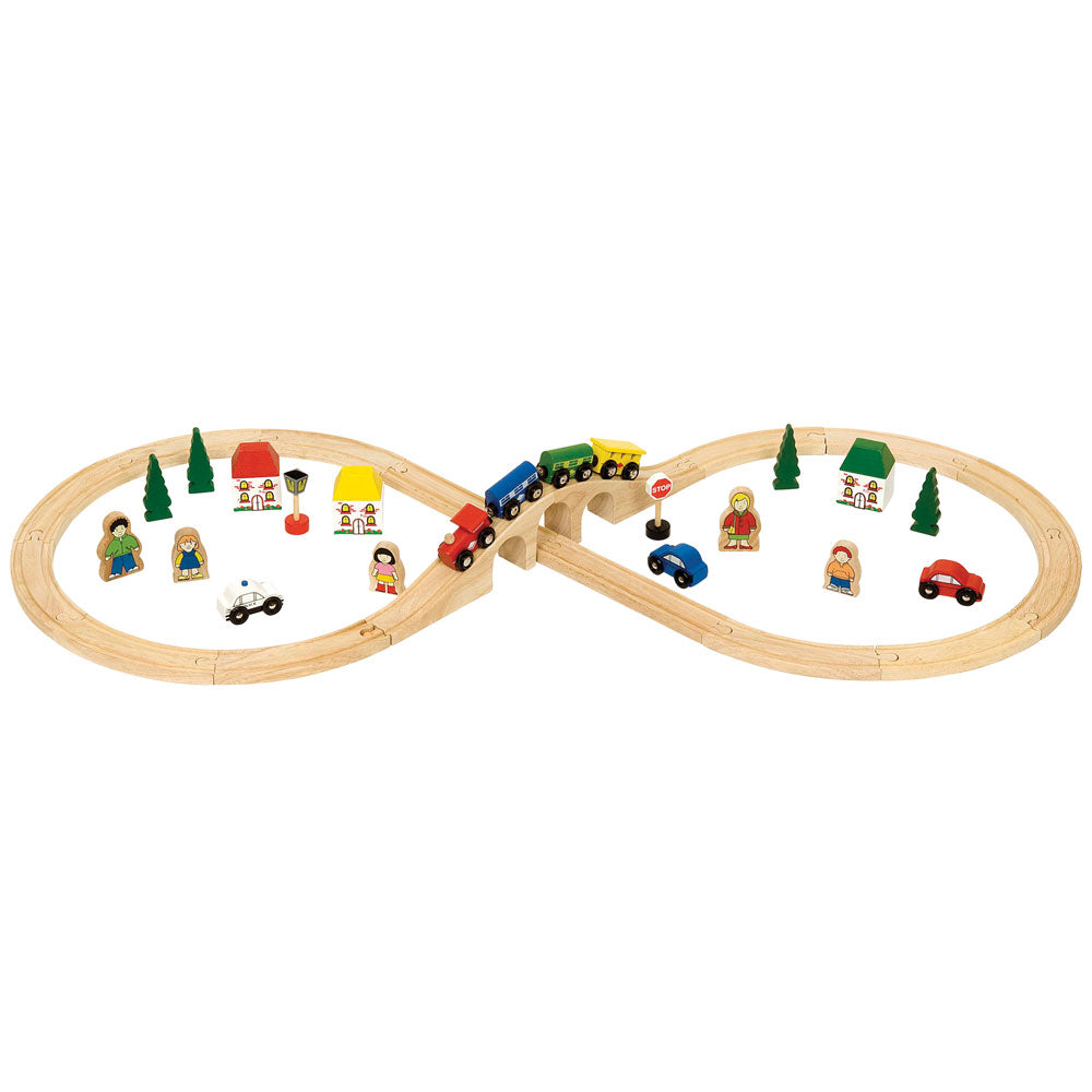 This Bigjigs Rail Figure of Eight Train Set was the winner of the Gold Medal in the Best Wooden Toy Category from Toyshop UK. This brightly coloured train set includes high quality wooden track pieces that form the figure of eight layout, a colourful engine with 2 colourful carriages and a variety of accessories.