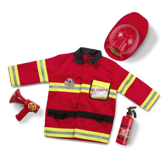 "Your aspiring little firefighter will look the part in this Fire Chief role play set from Melissa and Doug. They will have everything they need in an emergency: a bright red, machine-washable jacket trimmed with reflective material, a fire chief helmet, a ""fire extinguisher,"" a bullhorn with sound effects, a shiny badge, and a name tag to personalize. High-quality materials ensure durability and safety."