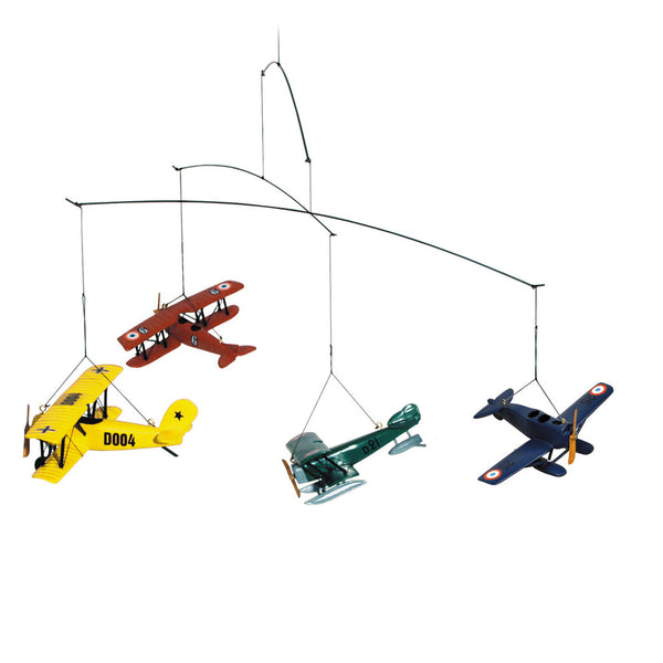 This fun and cool mobile is perfect for kids rooms and dens, with its colorful planes in constant graceful motion!