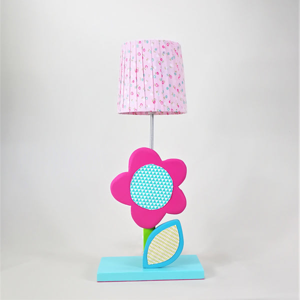 Flower Side Lamp with Wooden Base