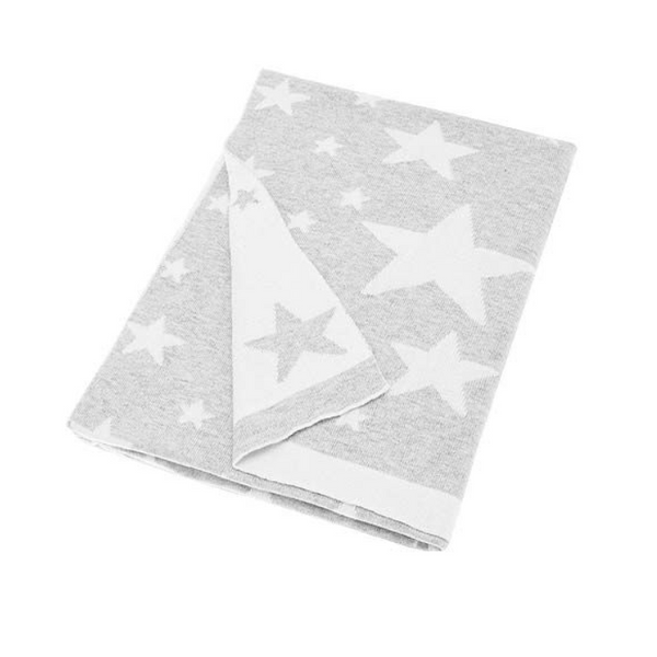 Super soft reversible baby blanket in grey & white with stars knitted from 100% soft combed cotton.