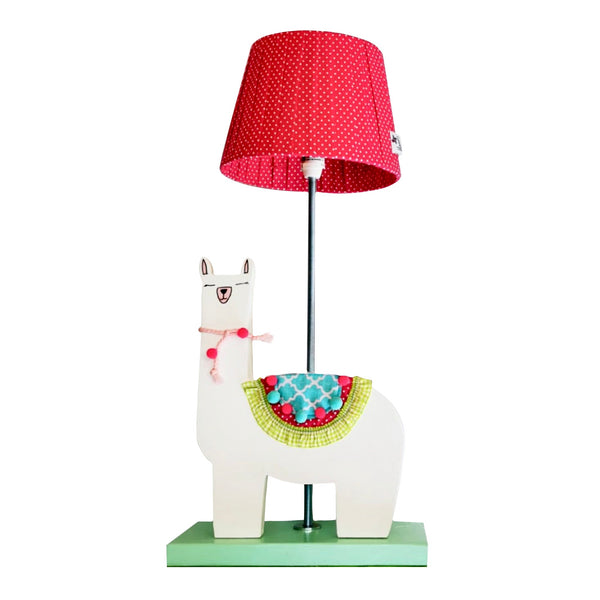 Designed and hand-crafted in Italy, this unique side lamp with a wooden base and a llama design is perfect for your little rascal's bedroom.  Creatively constructed from wood and fabric, the white llama with colourful embellishments on a mint base is simply beautiful. The dark pink lampshade with white spots is handmade and compliments the rest of the lamp.