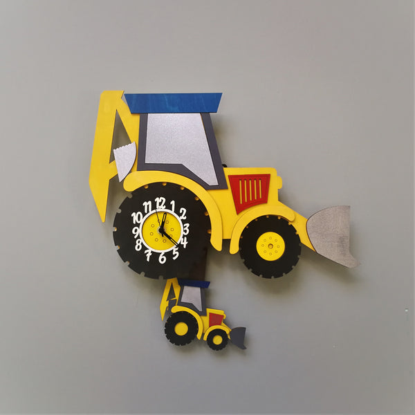 This yellow digger clock springs to life with a moving mini-digger as a pendulum. The clock face is on the big digger wheel.