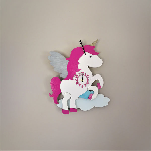 This pretty pink clock depicts a cute magical unicorn jumping over the clouds. The silent non-ticking clock would be a great addition to any child's bedroom.