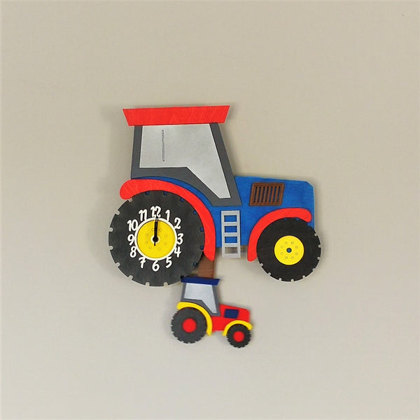 Tractor Blue Pendulum Clock - Kids Room Decor | Toys Gifts | Childrens Interiors | Rooms for Rascals