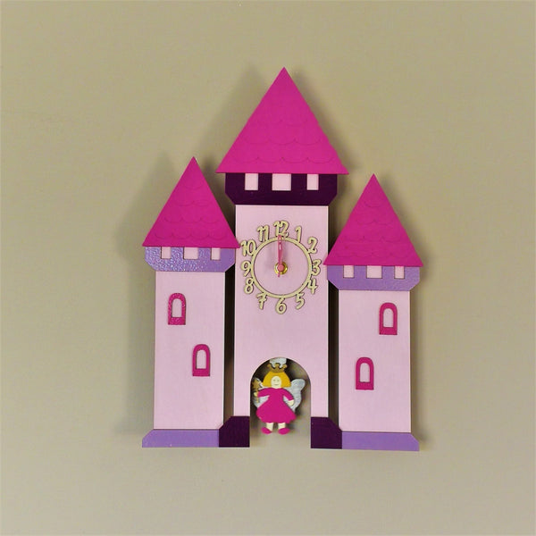 This pretty pink clock springs to life with a moving pendulum depicting a fairy princess in the gate of a stunning castle. The clock face is on the castle tower.
