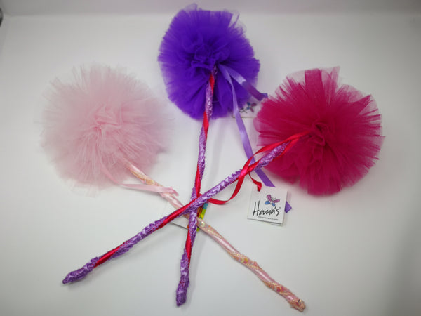 Pink, Purple and Fuschia Fairy Wands. These unique fairy wands are designed and hand-crafted in Italy with a beautifully lace handwoven handle which is perfect for sprinkling lots of fairy dust.