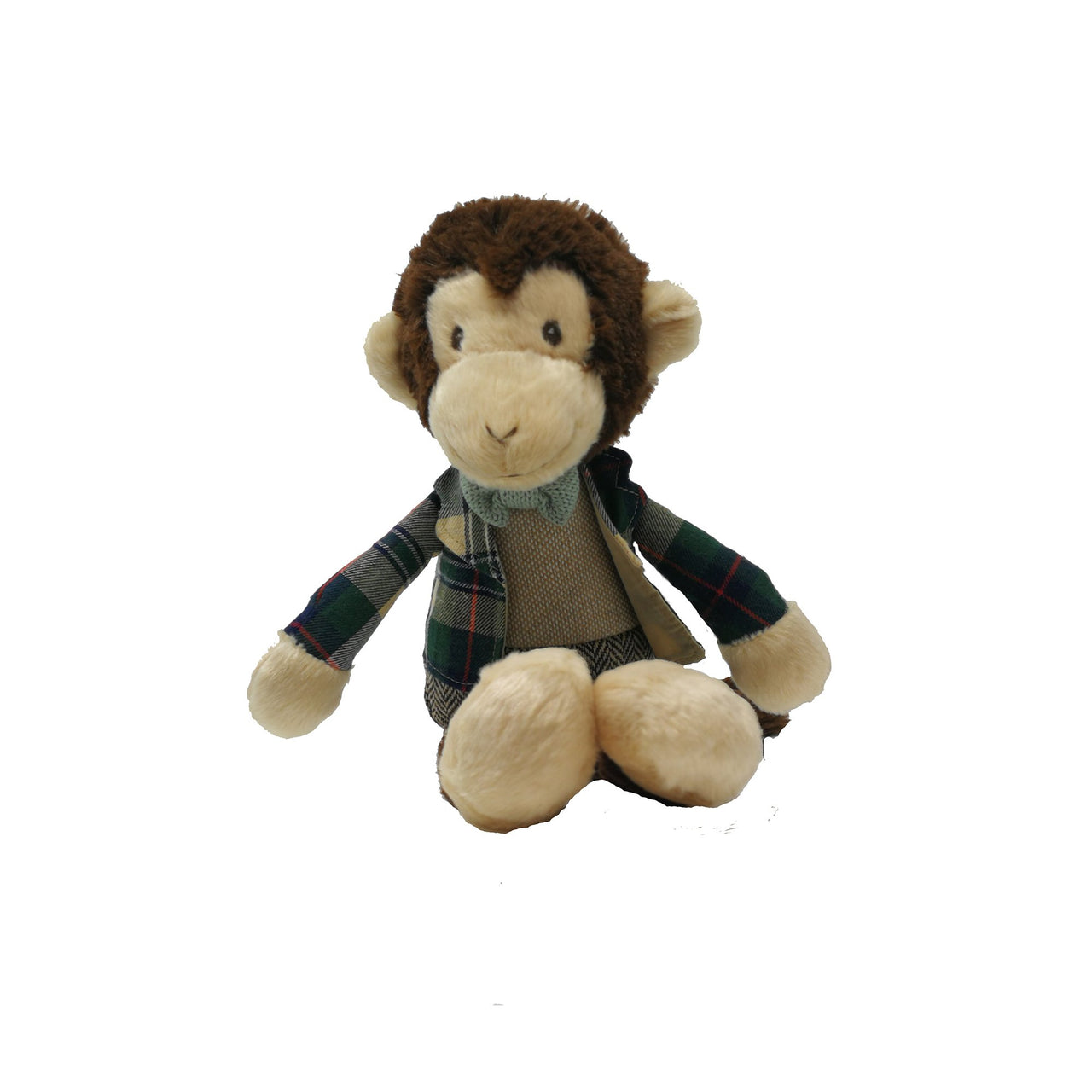 Meet Stu, the strikingly handsome and friendly monkey. Stu is very dapper in his tweed trousers, tartan jacket and knitted bow tie. A collectible soft toy if ever there was one!