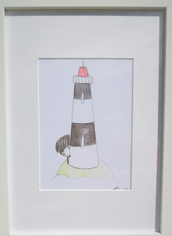 This set of two separate frames depicting a shy boy at a lighthouse can be hung vertically or horizontally.