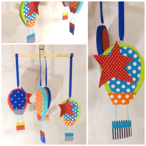 This beautiful baby mobile with Hot Air Balloons is perfect for a baby boy or girl nursery.