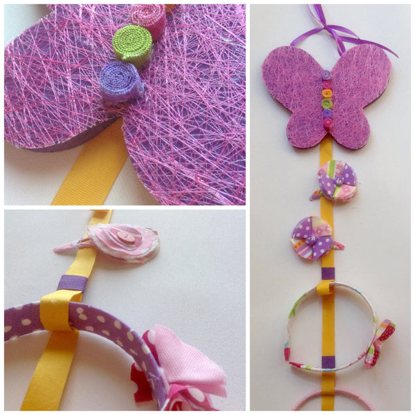 Three images of the butterfly headband and hairclip holder. Designed to be hung on the wall, the butterfly is made from painted wood with layered fabric. Attached to the butterfly is a long ribbon for holding hairclips and notches for holding headbands.