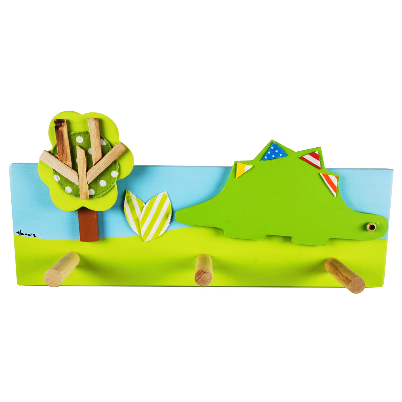 This hand-crafted coat rack has a light blue and green wooden base with a green dinosaur and tree design layered on top. Creatively constructed from wood and layered fabric, the vibrant dinosaur design is stunning. It has three wooden pegs for keeping your children's clothes organised.