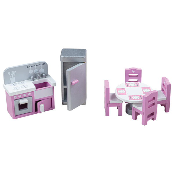 Create the perfect place for your hungry dolls to eat and make snacks with this doll's house Kitchen furniture set from Bigjigs! Wonderfully detailed and made from Beechwood, this set fits perfectly into most standard sized dolls houses. Little ones will love providing a life-like kitchen for their doll family. This extensive 9 piece set includes a fridge/freezer, a table and four chairs, two food accessories and a combined sink/stove which features a shopping list painted above the hob.